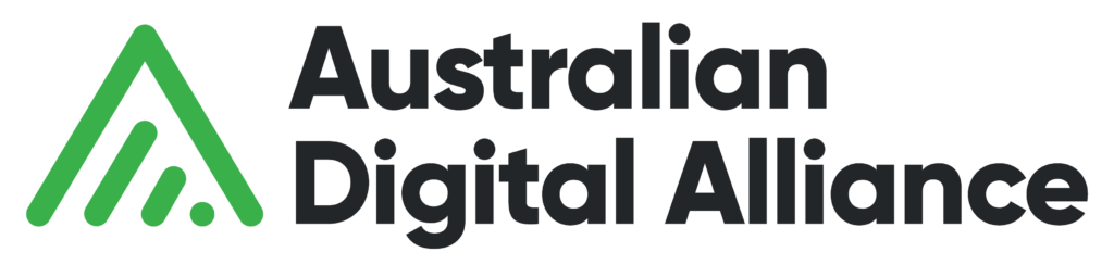 The logo of the Australian Digital Alliance. It features a green icon of a triangle with the tip pointing up and no bottom line. Inside the triangle is a symbol similar to the standard icon for wi-fi. Next to the icon is the words Australian Digital Alliance in black text.