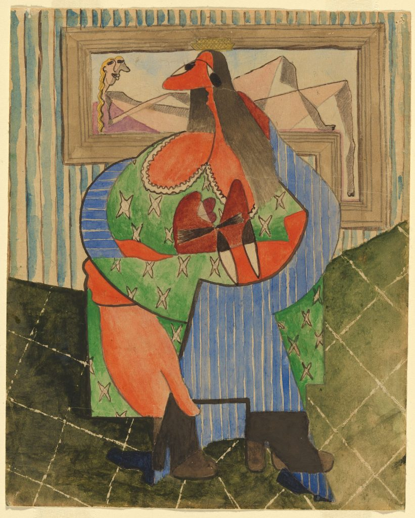 An artist study by Peter Purves Smith for his surrealist painting 'The pleading butcher' (1948). It features portrays two entwined figures merging into one; a large woman in a green dress embracing a butcher in a blue-striped apron.