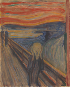 The Scream by Edvard Munch. The painting features a person on cliffside walkway holding their head in their hands and their mouth is open in anguish.