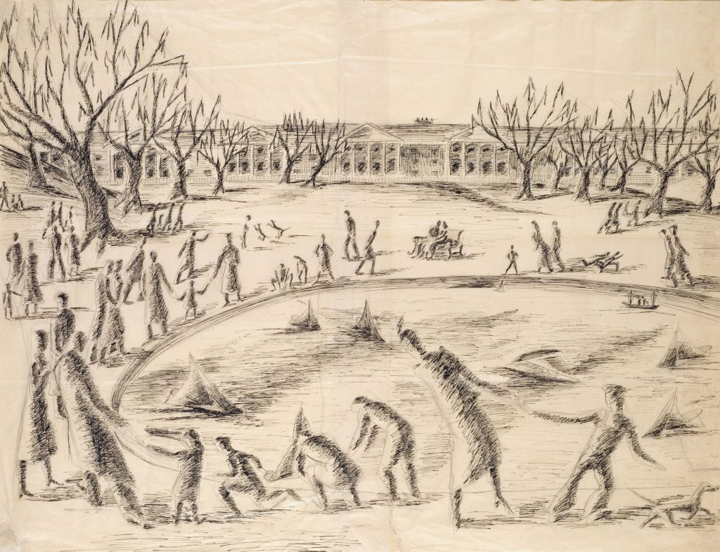 An artist study by Peter Purves Smith for his surrealist painting 'The pond' (1940). It features a pond in the middle of the sketch. On the water are many model sailing ships. Around the outside of the pond are numerous adults, children and dogs. In the background is a number of trees and buildings.