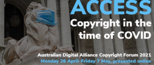 A banner for the Australian Digital Alliance Copyright Forum 2021. It features one of the marble lions in front of the New York Public Library wearing a blue medical mask.